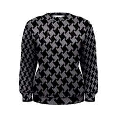 Houndstooth2 Black Marble & Gray Colored Pencil Women s Sweatshirt