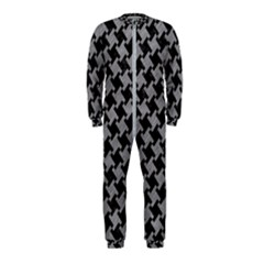 Houndstooth2 Black Marble & Gray Colored Pencil Onepiece Jumpsuit (kids)