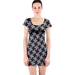 Houndstooth2 Black Marble & Gray Colored Pencil Short Sleeve Bodycon Dress