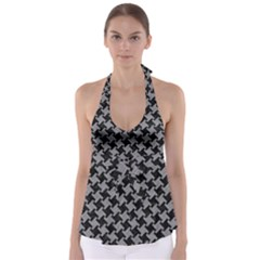 Houndstooth2 Black Marble & Gray Colored Pencil Babydoll Tankini Top