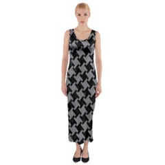 Houndstooth2 Black Marble & Gray Colored Pencil Fitted Maxi Dress
