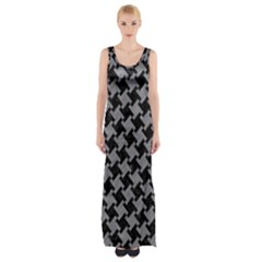 Houndstooth2 Black Marble & Gray Colored Pencil Maxi Thigh Split Dress