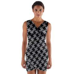 Houndstooth2 Black Marble & Gray Colored Pencil Wrap Front Bodycon Dress