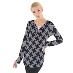 Houndstooth2 Black Marble & Gray Colored Pencil Tie Up Tee