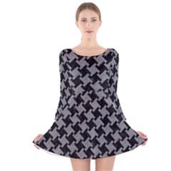 Houndstooth2 Black Marble & Gray Colored Pencil Long Sleeve Velvet Skater Dress