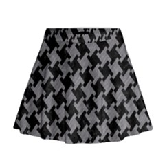 Houndstooth2 Black Marble & Gray Colored Pencil Mini Flare Skirt