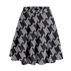 Houndstooth2 Black Marble & Gray Colored Pencil High Waist Skirt