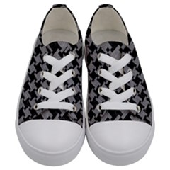 Houndstooth2 Black Marble & Gray Colored Pencil Kids  Low Top Canvas Sneakers