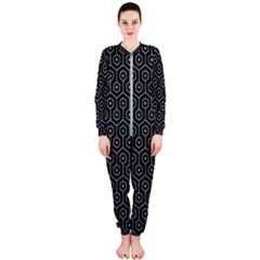 Hexagon1 Black Marble & Gray Colored Pencil Onepiece Jumpsuit (ladies)