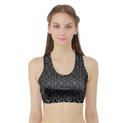 Hexagon1 Black Marble & Gray Colored Pencil Sports Bra With Border