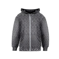 Hexagon1 Black Marble & Gray Colored Pencil (r) Kids  Zipper Hoodie