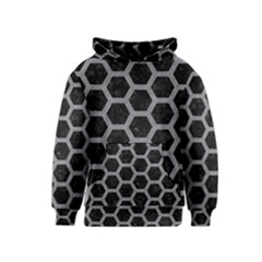 Hexagon2 Black Marble & Gray Colored Pencil Kids  Pullover Hoodie