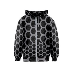 Hexagon2 Black Marble & Gray Colored Pencil Kids  Zipper Hoodie