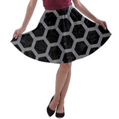 Hexagon2 Black Marble & Gray Colored Pencil A Line Skater Skirt