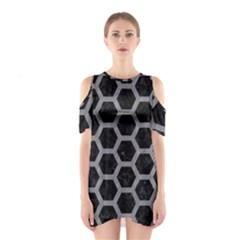 Hexagon2 Black Marble & Gray Colored Pencil Shoulder Cutout One Piece