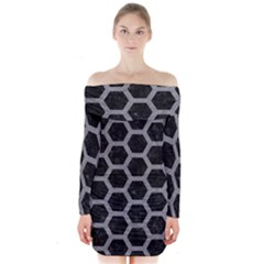 Hexagon2 Black Marble & Gray Colored Pencil Long Sleeve Off Shoulder Dress