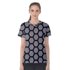 Hexagon2 Black Marble & Gray Colored Pencil (r) Women s Cotton Tee