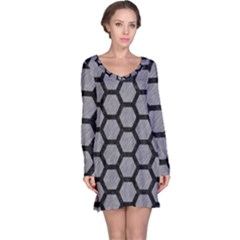 Hexagon2 Black Marble & Gray Colored Pencil (r) Long Sleeve Nightdress