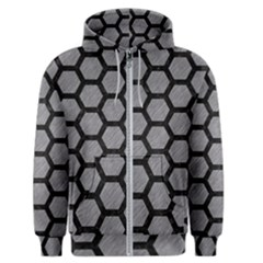 Hexagon2 Black Marble & Gray Colored Pencil (r) Men s Zipper Hoodie