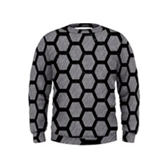 Hexagon2 Black Marble & Gray Colored Pencil (r) Kids  Sweatshirt