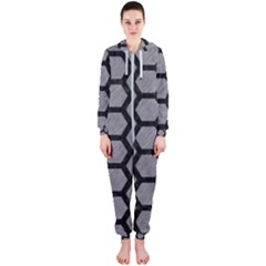 Hexagon2 Black Marble & Gray Colored Pencil (r) Hooded Jumpsuit (ladies)