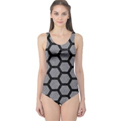 Hexagon2 Black Marble & Gray Colored Pencil (r) One Piece Swimsuit