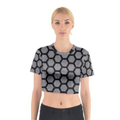 Hexagon2 Black Marble & Gray Colored Pencil (r) Cotton Crop Top