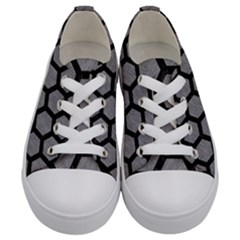 Hexagon2 Black Marble & Gray Colored Pencil (r) Kids  Low Top Canvas Sneakers