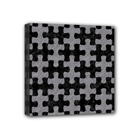 Puzzle1 Black Marble & Gray Colored Pencil Mini Canvas 4  X 4