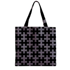 Puzzle1 Black Marble & Gray Colored Pencil Zipper Grocery Tote Bag