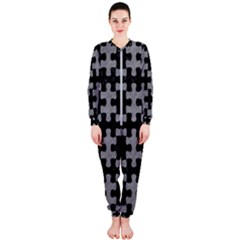 Puzzle1 Black Marble & Gray Colored Pencil Onepiece Jumpsuit (ladies)