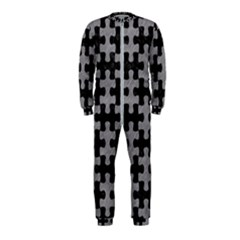 Puzzle1 Black Marble & Gray Colored Pencil Onepiece Jumpsuit (kids)