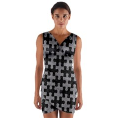 Puzzle1 Black Marble & Gray Colored Pencil Wrap Front Bodycon Dress