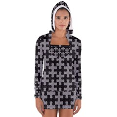 Puzzle1 Black Marble & Gray Colored Pencil Long Sleeve Hooded T Shirt