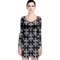 Puzzle1 Black Marble & Gray Colored Pencil Long Sleeve Velvet Bodycon Dress