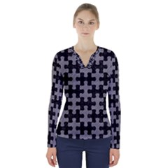 Puzzle1 Black Marble & Gray Colored Pencil V Neck Long Sleeve Top