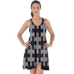 Puzzle1 Black Marble & Gray Colored Pencil Show Some Back Chiffon Dress