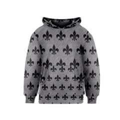 Royal1 Black Marble & Gray Colored Pencil Kids  Pullover Hoodie