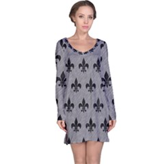 Royal1 Black Marble & Gray Colored Pencil Long Sleeve Nightdress