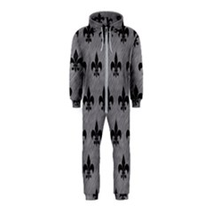 Royal1 Black Marble & Gray Colored Pencil Hooded Jumpsuit (kids)