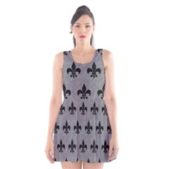 Royal1 Black Marble & Gray Colored Pencil Scoop Neck Skater Dress