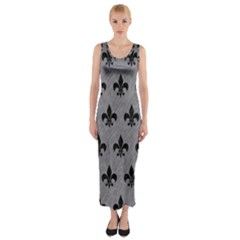 Royal1 Black Marble & Gray Colored Pencil Fitted Maxi Dress