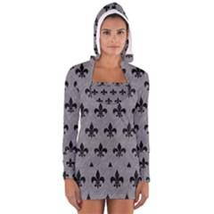 Royal1 Black Marble & Gray Colored Pencil Long Sleeve Hooded T Shirt