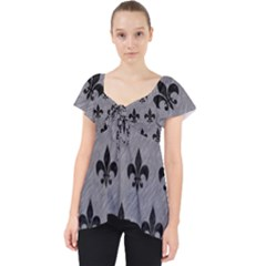 Royal1 Black Marble & Gray Colored Pencil Lace Front Dolly Top