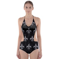 Royal1 Black Marble & Gray Colored Pencil (r) Cut Out One Piece Swimsuit