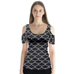 Scales1 Black Marble & Gray Colored Pencil Butterfly Sleeve Cutout Tee