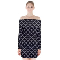 Scales1 Black Marble & Gray Colored Pencil Long Sleeve Off Shoulder Dress