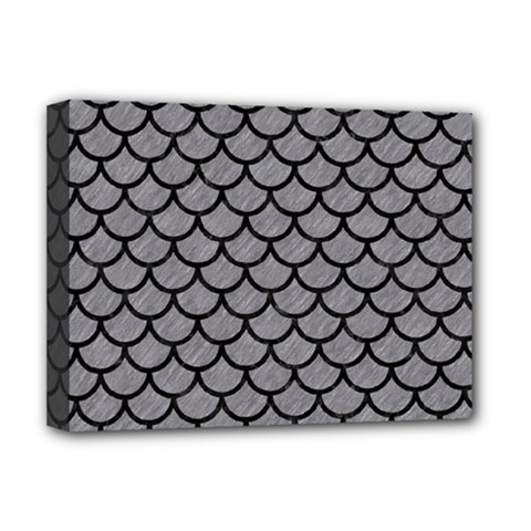 Scales1 Black Marble & Gray Colored Pencil (r) Deluxe Canvas 16  X 12
