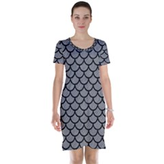 Scales1 Black Marble & Gray Colored Pencil (r) Short Sleeve Nightdress
