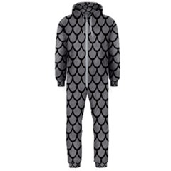Scales1 Black Marble & Gray Colored Pencil (r) Hooded Jumpsuit (men)